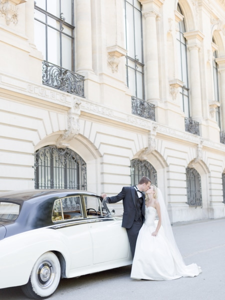 Vintage Car Luxury Paris Wedding Photography